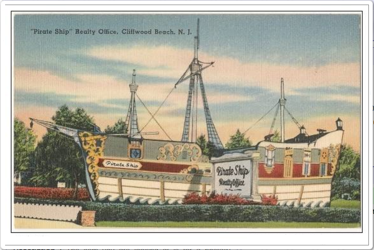 pirate ship post card